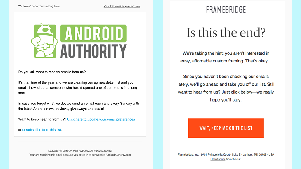 Subscriber re-engagement email by Android Authority (Left) and FrameBridge (Right).
